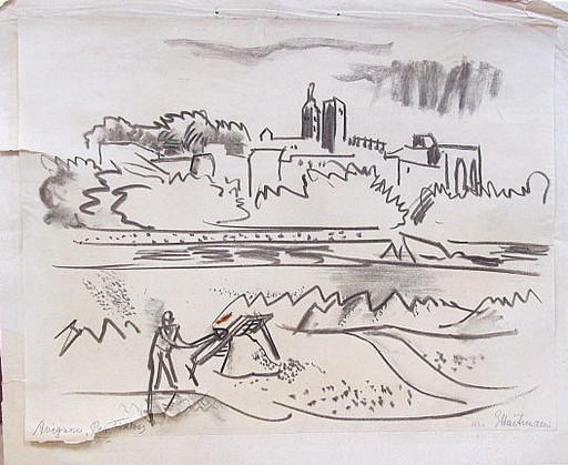 Erich HARTMANN - Disegno Acquarello - Avignon- das Papstschloss.