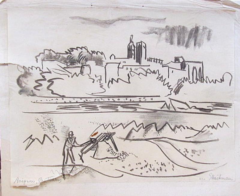 Erich HARTMANN - Dessin-Aquarelle - Avignon- das Papstschloss.