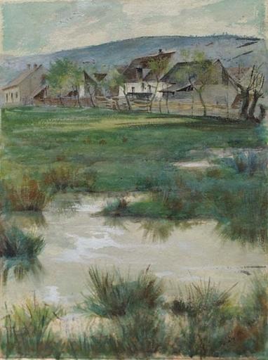 """Karel NEJEDLY - Disegno Acquarello - """"Village Motif"""" by Karel Nejedly (1873-1927), Watercolor"""