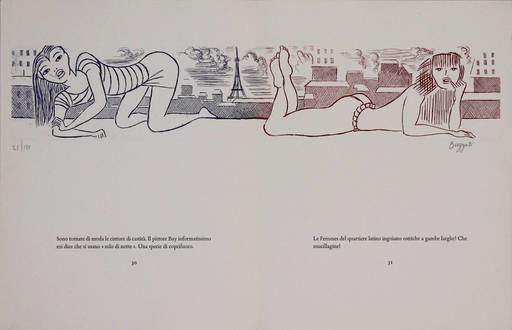 Dino BUZZATI - 版画 - Le gambe di Saint Germain