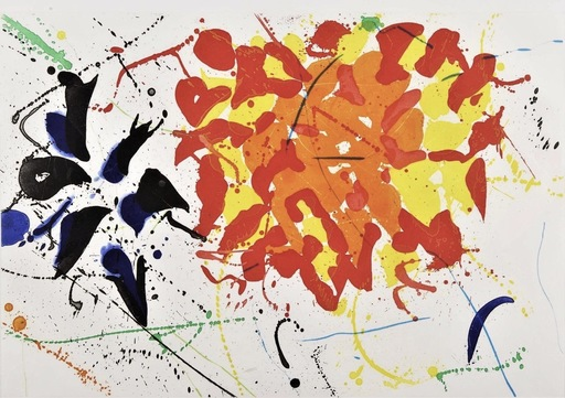Sam FRANCIS - Estampe-Multiple - Untitled red (American foundation)