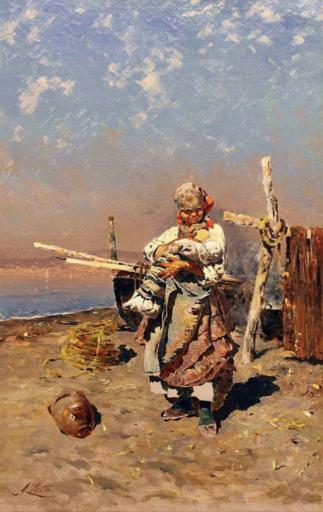 Antonino LETO - Gemälde - Mammina (particolare di I funari di Torre del Greco), 1883