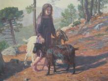 Camille BOIRY - Peinture - Gardienne de chêvres.Corse.