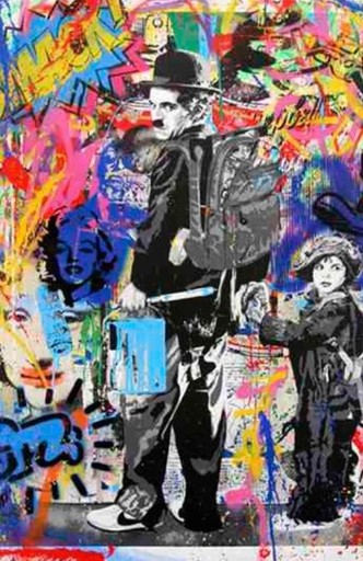 MR BRAINWASH - Pintura - Just Kidding (Charlie Chaplin)