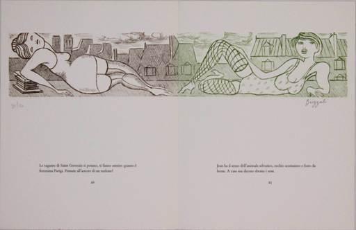 Dino BUZZATI - Grabado - Le gambe di Saint Germain