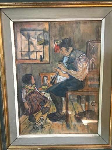 Ignatius TASCHNER - Dessin-Aquarelle - Le joueur de flûte et l'enfant