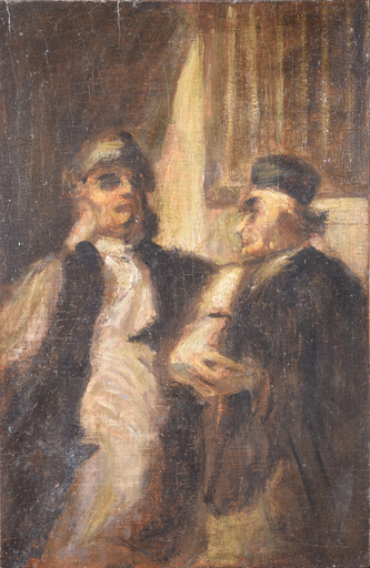 "Honoré DAUMIER - Peinture - ""Two Lawyers"" or ""At Court"""
