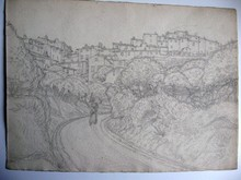 Auguste Victor FABRE - Drawing-Watercolor - CAGNES SUR MER