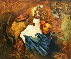 Roger SURAUD - Peinture - Nu Masqué