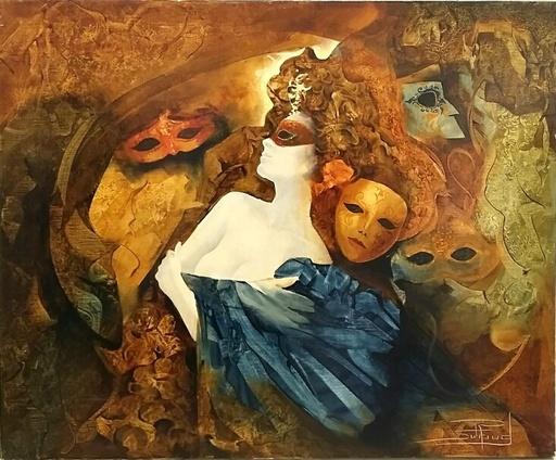 Roger SURAUD - Painting - Nu Masqué
