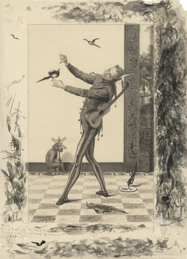Arthur Alfred BURRINGTON - Drawing-Watercolor - Le bateleur