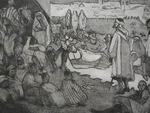 Yves BRAYER - Grabado - Le conteur Arabe,Fez,1927.