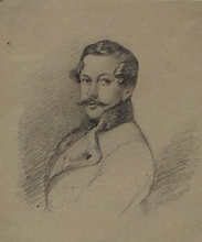 "Leopold STEINRUCKER - Dessin-Aquarelle - ""Portrait of a Gentleman"", ca 1840"