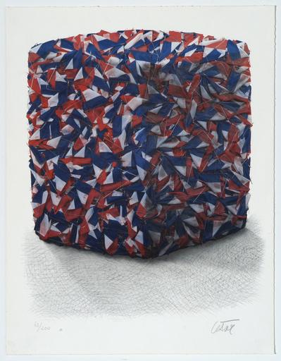 凯撒·巴达奇尼 - 版画 - Portrait de compression de drapeaux Français