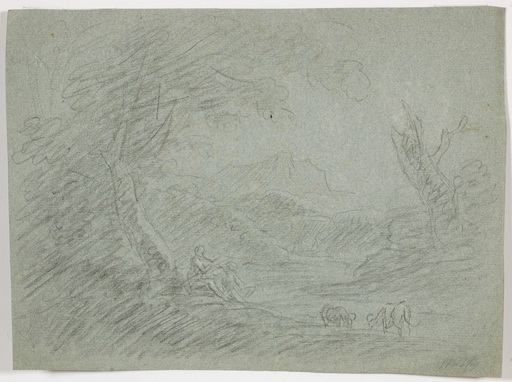 """Michael WUTKY - Drawing-Watercolor - """"Neoclassical landscape with figures"""", rare drawing!"""