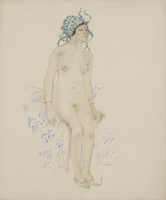 Armand RASSENFOSSE - Disegno Acquarello - Jeune femme au turban