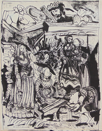 Pablo PICASSO - Stampa Multiplo - David and Bathsheba (After Lucas Cranach) II
