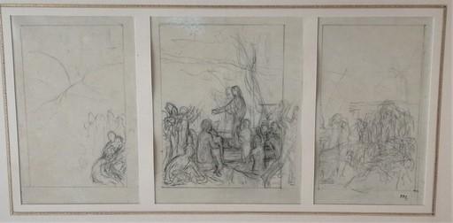 Pierre PUVIS DE CHAVANNES - Drawing-Watercolor - Sainte Geneviève ravitaillant Pais assiégé