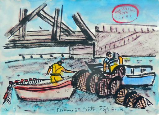 Jean-Pierre CHEVASSUS-AGNES - Dessin-Aquarelle - pêcheurs au filet à SETE vers pointe courte