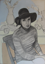 Francesco MENZIO - Pintura - Ragazza con cappello, 1968