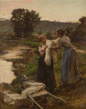Léon Augustin LHERMITTE - Painting - Départ des laveuses le soir