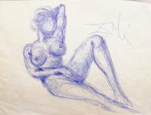 Salvador DALI - Drawing-Watercolor - Nu féminin / Costumes de l'an 2000
