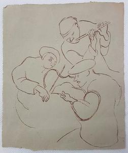 Honoré DAUMIER - Dessin-Aquarelle - Sketch of Three Musicians
