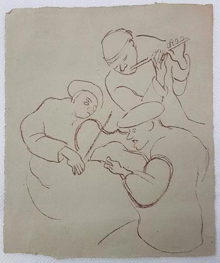 奥诺雷•杜米埃 - 水彩作品 - Sketch of Three Musicians