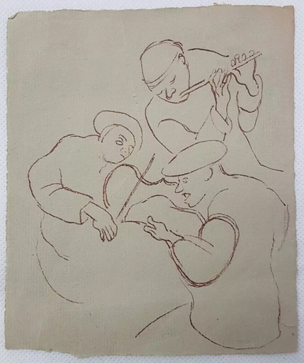 Honoré DAUMIER - Dessin-Aquarelle - Sketch of Three Musicians