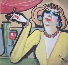 Hugo SCHEIBER - Pintura - Woman at the Bar