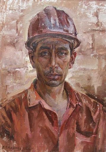 """Vassili KARKOTS - Peinture - """"Worker"""", Oil Painting by Vasili Karkots"""