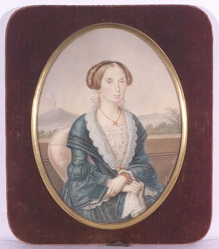 """Giuseppe CAMMARANO - Dibujo Acuarela - """"Portrait of a lady with Vesuv in background"""", 1840's late"""