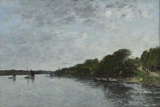 Eugène BOUDIN - Pittura - Rivière en Bretagne