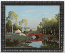 "August ALBO - Pintura - ""Red bridge"", oil on canvas, 1950s"