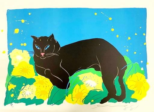 丁雄泉 - 版画 - Black Cat
