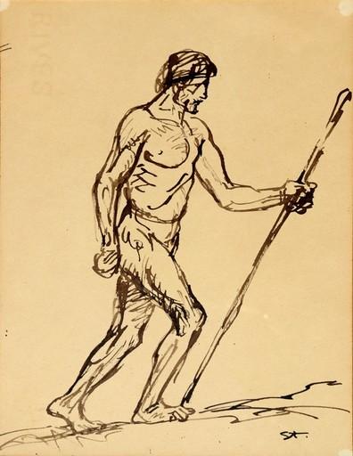"""Théophile Alexandre STEINLEN - Dibujo Acuarela - """"L'HOMME QUI MARCHE"""""""