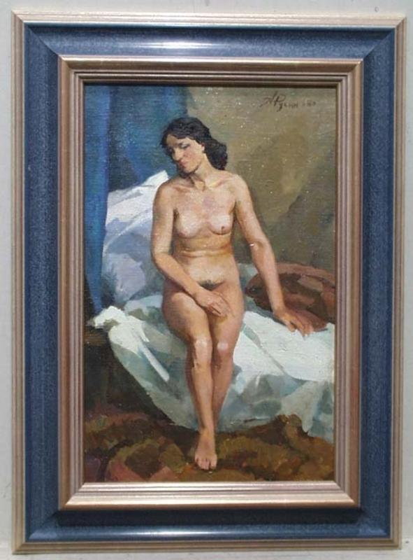"Arkadi RUSIN - Gemälde - ""Sitting Female Nude"" by Arkadi Rusin"