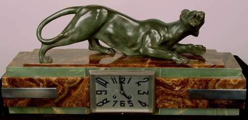 Georges GARDET - Escultura - Panther Clock