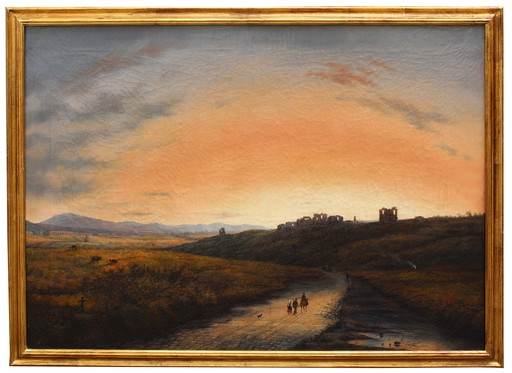 Giuseppe I CANELLA - Painting - Veduta della campagna romana con l'acquedotto Claudio