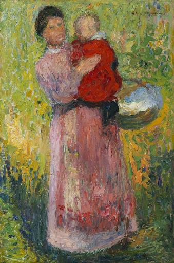 亨利•马丁 - 绘画 - Femme portant dans ses bras un enfant en rouge