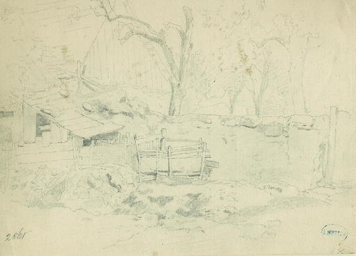 Leopold MUNSCH - Dibujo Acuarela - Study of a Farm Building and walled yard
