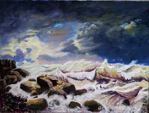 Jean PARRAUD - Painting - Tempête en mer