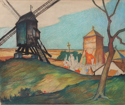 "Raymond DIERICKX - Drawing-Watercolor - ""PROCESSION AU MOULIN"""