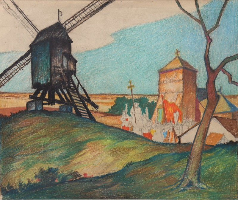 """Raymond DIERICKX - Drawing-Watercolor - """"PROCESSION AU MOULIN"""""""