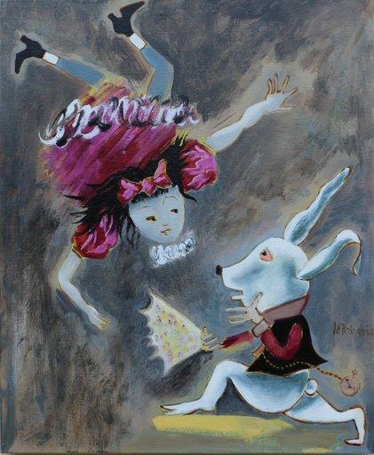 Danielle LE BRICQUIR - Painting - Bonjour Alice, dit le lapin