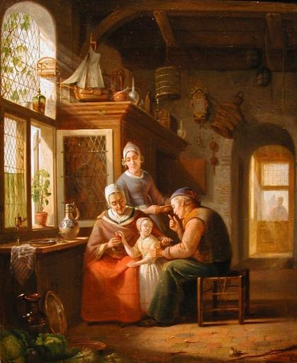 Jan Hendrik VAN ROSSUM DU CHATTEL - Pintura - Interior of a fisherman's home