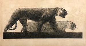 Paul JOUVE - Grabado - Deux tigres marchant