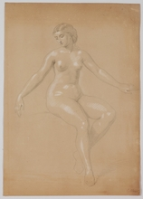 "Carl VON BLAAS - Drawing-Watercolor - ""Female Nude"" by Carl von Blaas, early 19th Century"