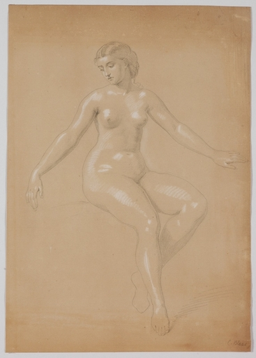"Carl VON BLAAS - Dessin-Aquarelle - ""Female Nude"" by Carl von Blaas, early 19th Century"