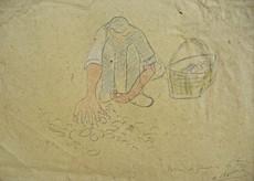 Auguste CHABAUD - Dibujo Acuarela - LE RAMASSEUR DE POMMES DE TERRE